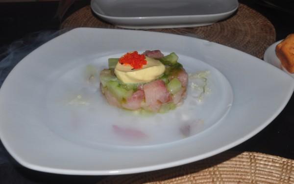 Hamachi and Tuna Crudo, Tomato Soffritto, Tomato Jelly Josselins