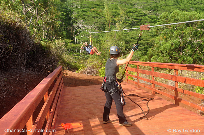 Koloa Zipline in shadow of Black Mountain