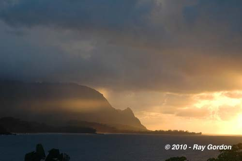 View from Hanalei Bay at Dusk Princeville, Kauai by Ray J Gordon