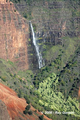 Waimea Canyon Kauai Waterfall West Shore by Ray J Gordon