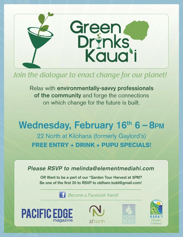 Green Drinks Feb 16 Wednesday 6PM at 22 Degrees North