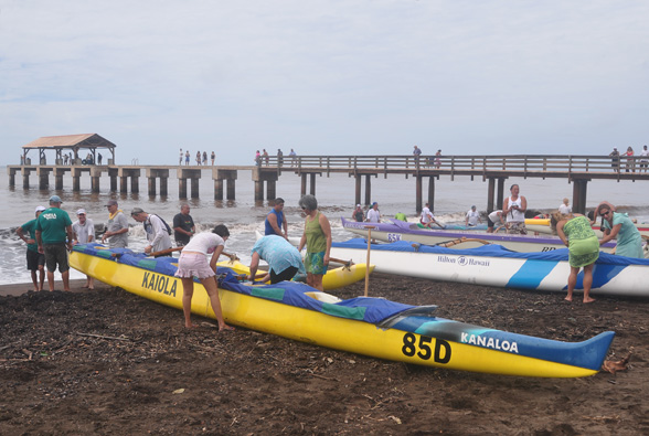 Racing Canoe at Start Line - Photo by Ray Gordon