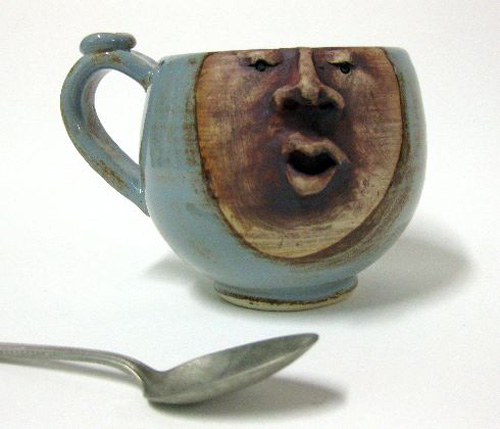 Blue Shino Face Mug by Leslie Hagen