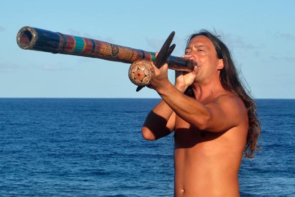 John Dumas on Didgeridoo at Kauai Whale Celebration