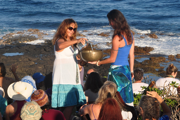 water pour ceremony for celebration of the whales