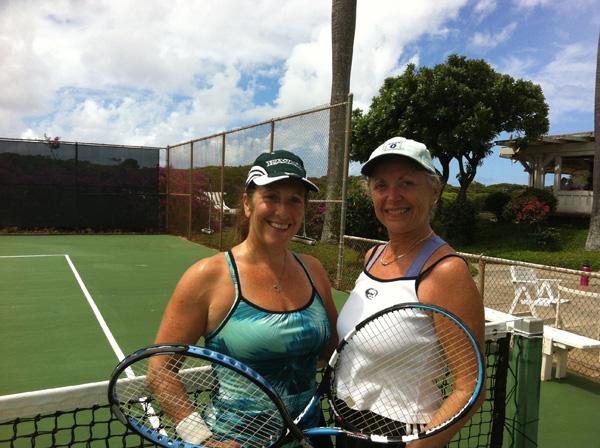 Janet Nathanson and Linda Sherman at Kiahuna Tennis Club