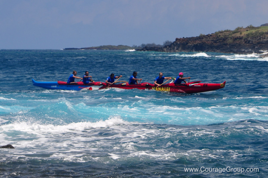 Hanalei OC-6 coming into harbor at Paddle Fest Kauai - photo by Ray Gordon
