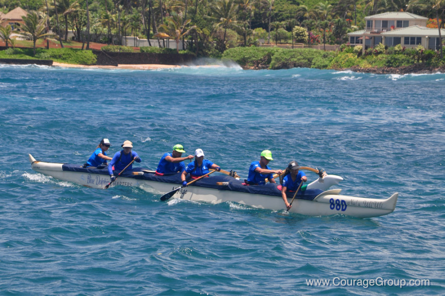 Winner Mixed Masters OC-6 Kukuiula Paddle Fest Kauai photo by Ray Gordon