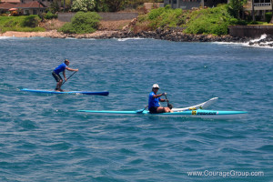 Pegasus OC-1 and SUP paddlers arriving at Paddle Fest photo by Ray Gordon