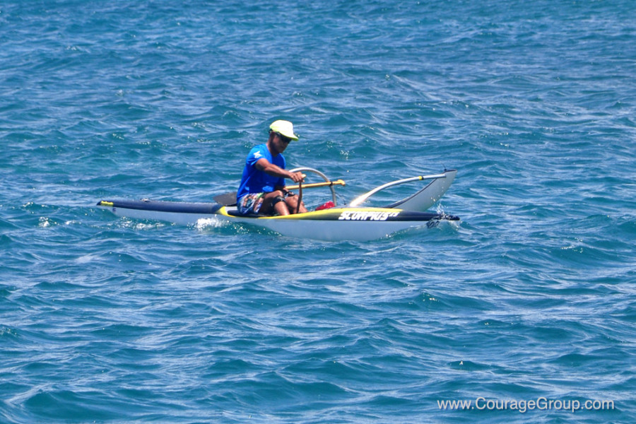 Mike Kobayashi on Scorpius Competing in 60's Mens OC-1 Division Paddlefest Kauai photo by Ray Gordon