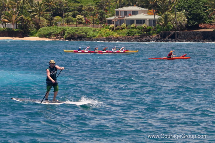 Brenneckes/Kukuiula Hoku on SUP, accompanied by OC-6 (and OC-1