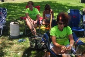 Preparing leis for paddling awards Paddle Fest 2013