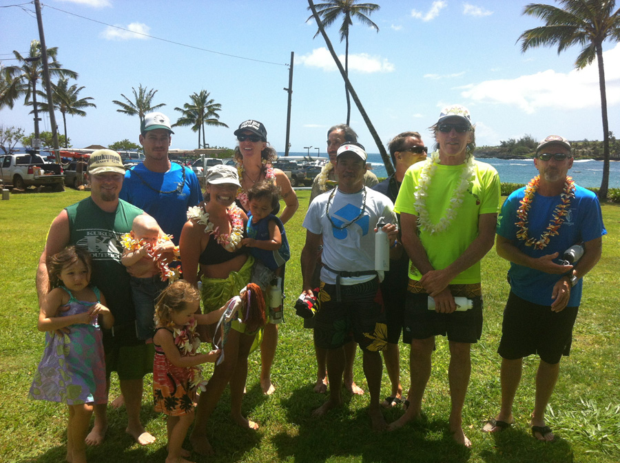 SUP long course winners from each division:  gender, age and board length