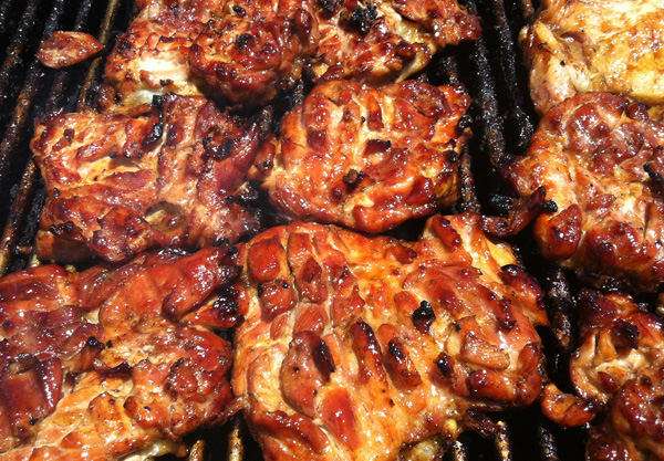 Chicken on the grill at Big Save Koloa