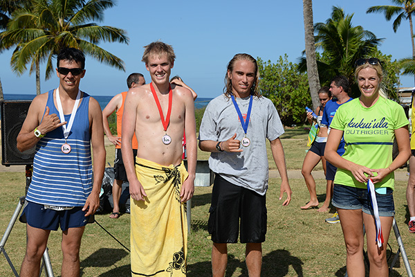 10 mile winners Pierce Murphy, Connor Winter, Derrick Ledesma photo by Ray Gordon Family Fun Run Koloa Plantation Days