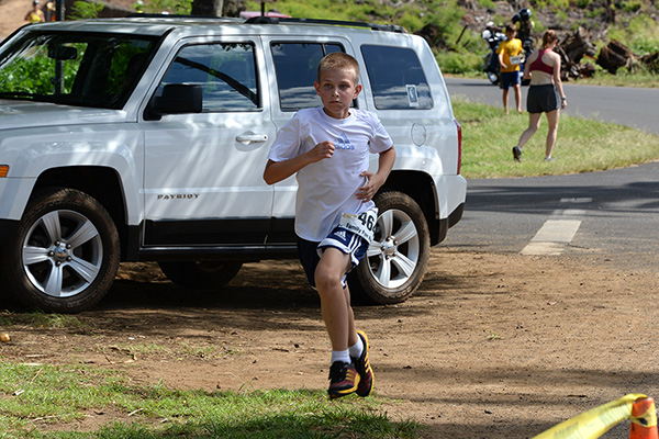 keiki run winner, Garrett Lipot photo by Ray Gordon Family Fun Run Koloa Plantation Days