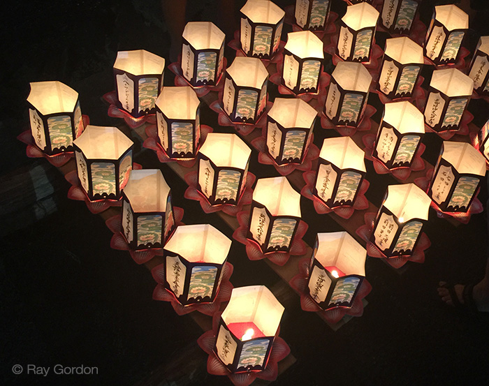 toro nagashi lanterns ready for launching. Photo by Ray Gordon