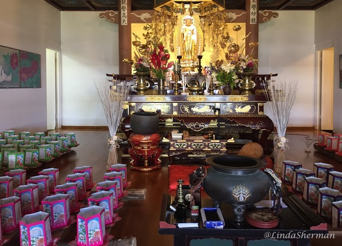 Paper lantern preparation at Koloa Jodo Mission for Sunday evening's Toro Nagashi as seen on Sunday morning